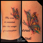 Watercolor butterfly and lettering by Ti