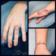 Small tattoos by Tine Tattoo Tom Studio.