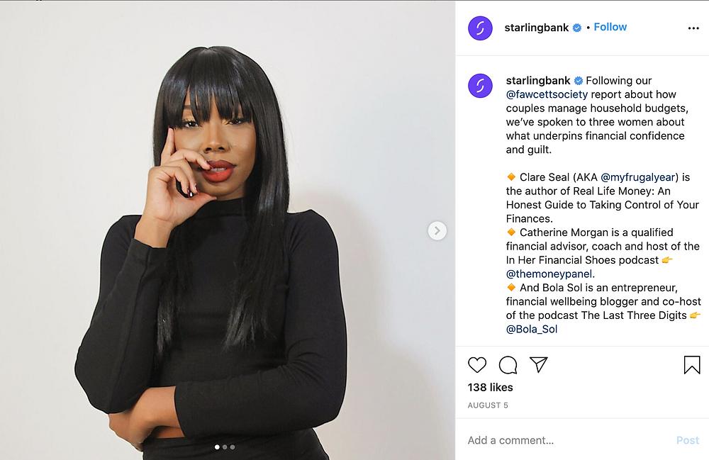 Starling Bank Instagram Post
