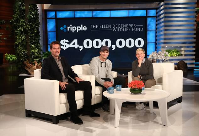 Ashton Kutcher and Ripple at Ellen's show