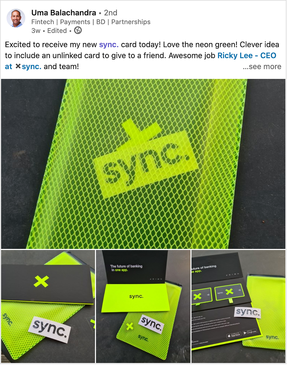 sync's unique card packaging