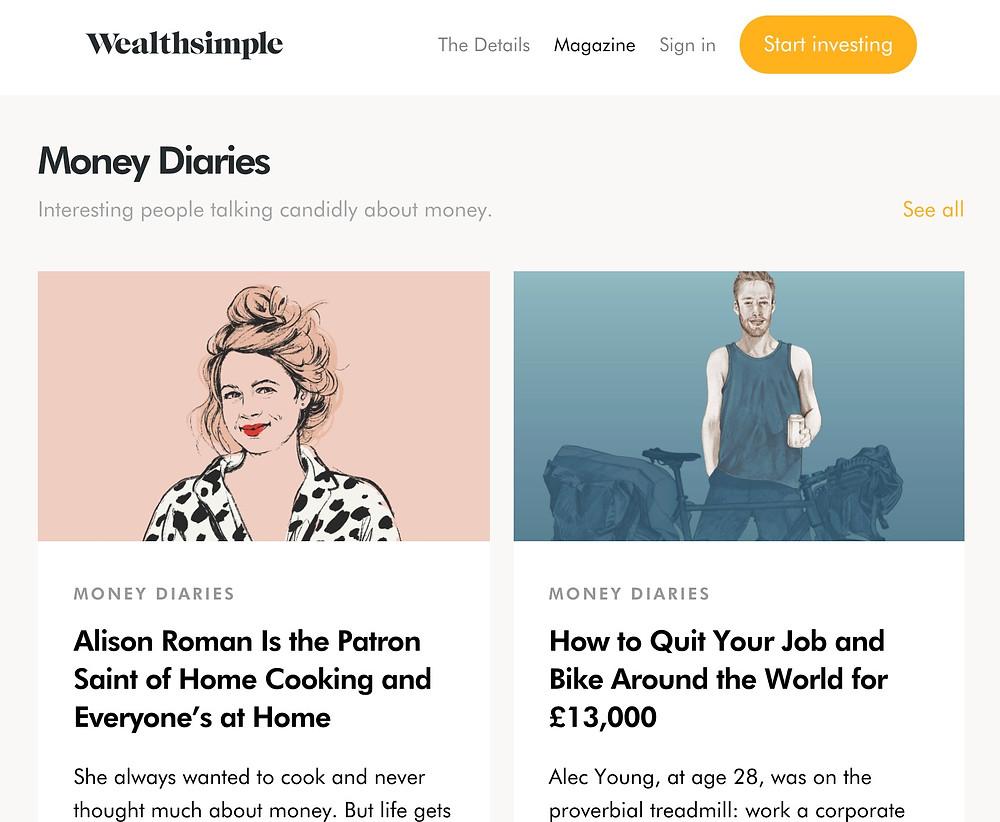 Wealthsimple Money Diaries Magazine