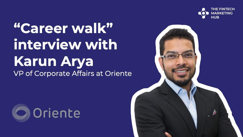 Career walk interview banner with Karun Arya of Oriente