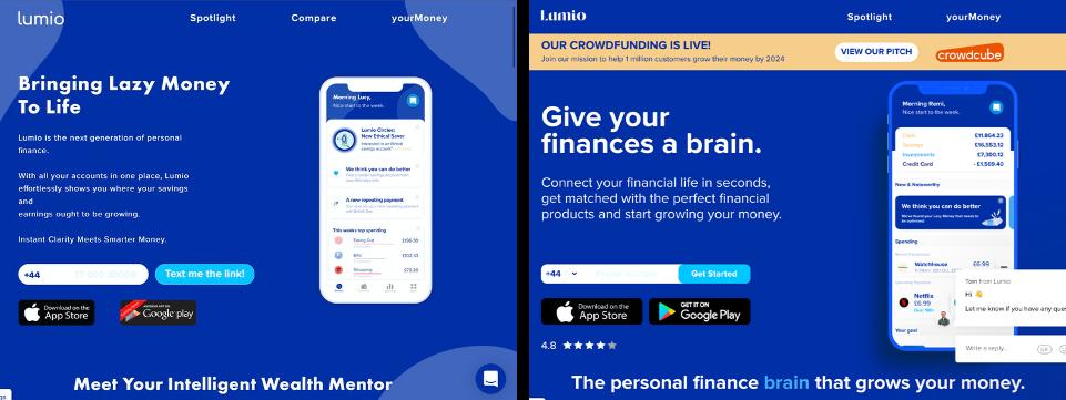 Old Lumio Website Vs New Lumio Website