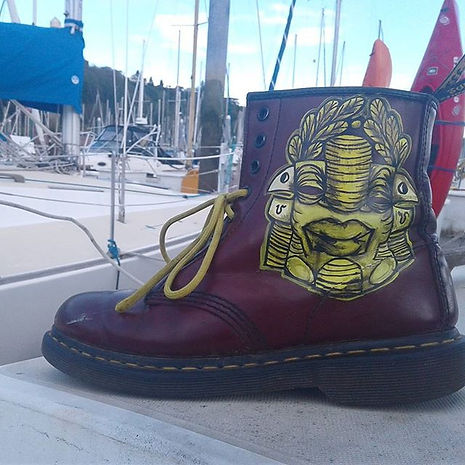 AfroSPK_products_Gold_on_Maroon_Boots_1.