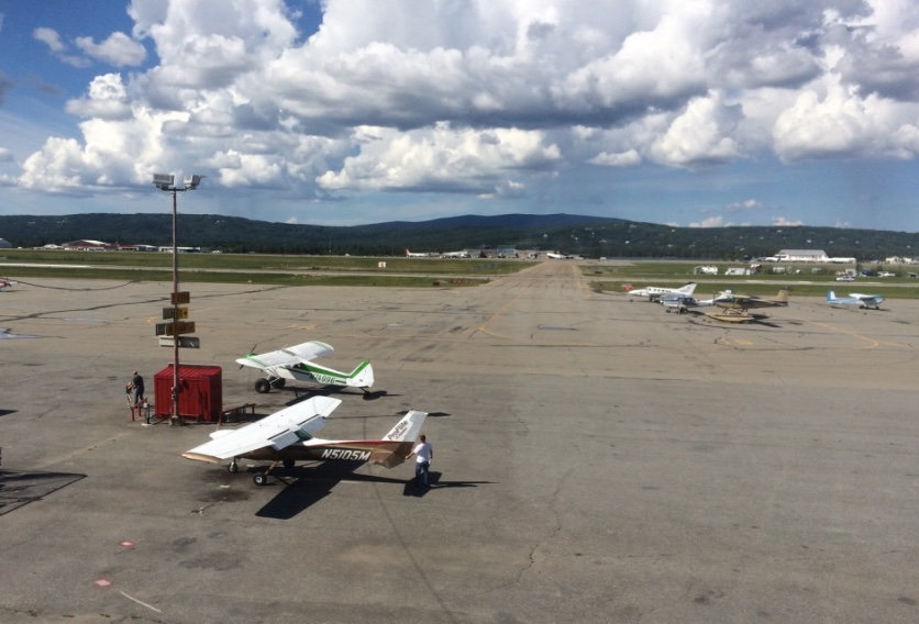 view of runway at Fairbanks airport from East Ramp Wood-fired Pizza
