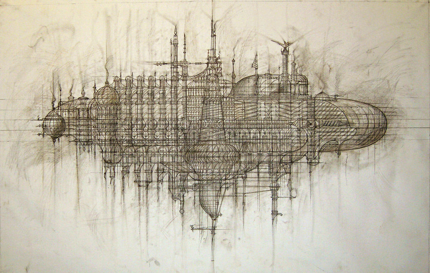 """The Ark"", graphics on canvas. Anton Chumak"