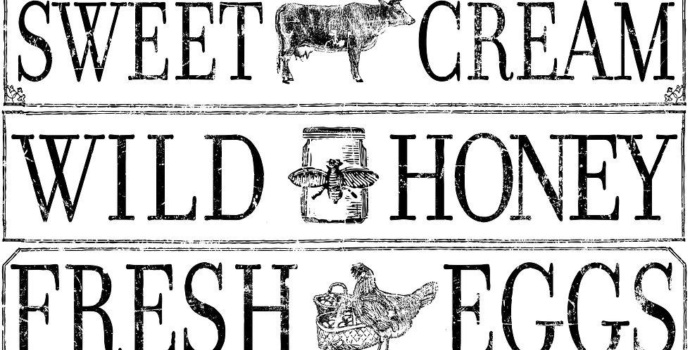 Farm Fresh Signage Decor Transfer
