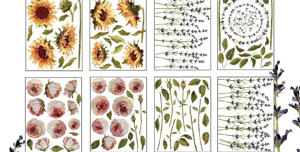 Painterly Florals Decor Transfer Set (8) 12x16 sheets