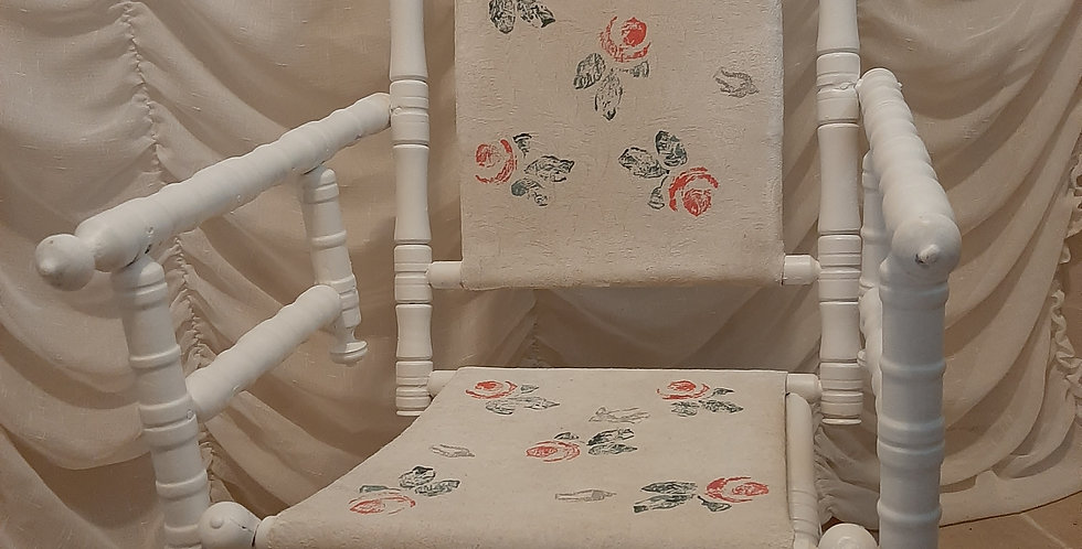 Adorable, Super comfy white rocking chair with flowers