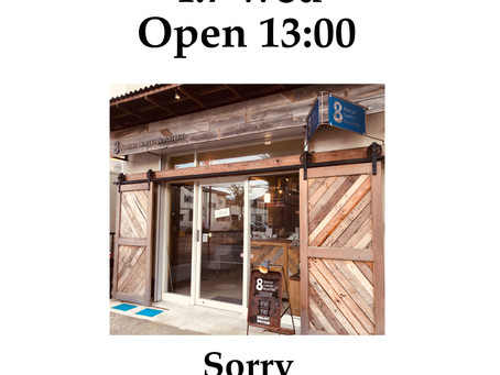 【営業時間変更】4.7 wed 13:00オープンです
