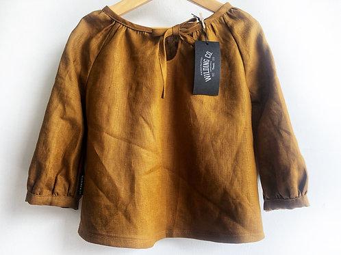 Long Sleeve Linen Shirt - Ochre