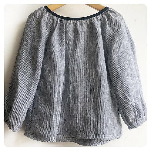 Long Sleeve Linen Shirt - Blue Stripe