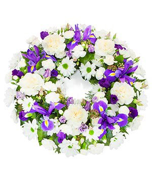 Wreath in purple and white
