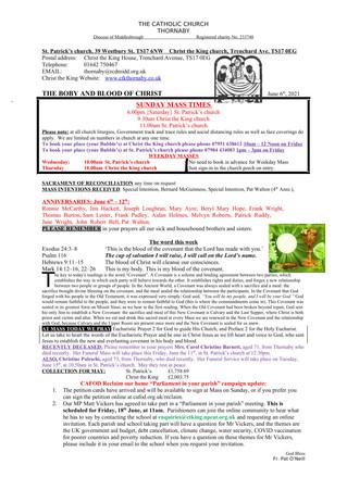 Parish Bulletin: June 5