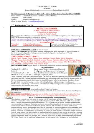 Parish Bulletin: June 26