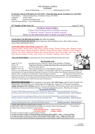 Parish Bulletin: August 22