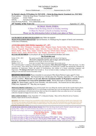Parish Bulletin: September 12
