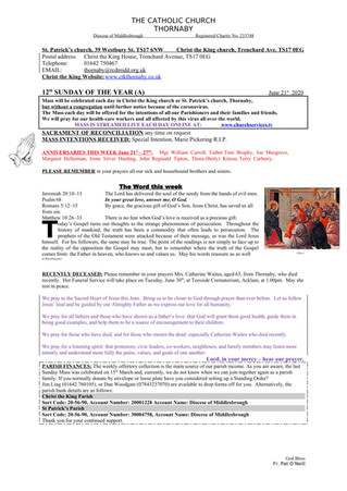 Parish Bulletin: June 20