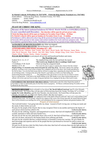 Parish Bulletin: November 21