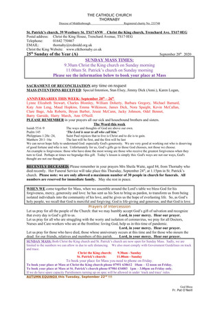 Parish Bulletin: September 19