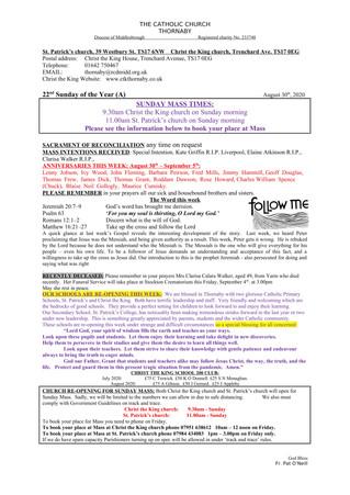 Parish Bulletin: August 29
