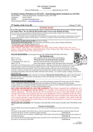 Parish Bulletin: February 6