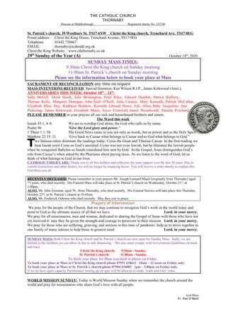 Parish Bulletin: October 17