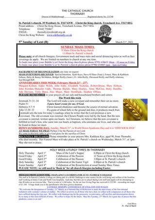 Parish Bulletin: March 20