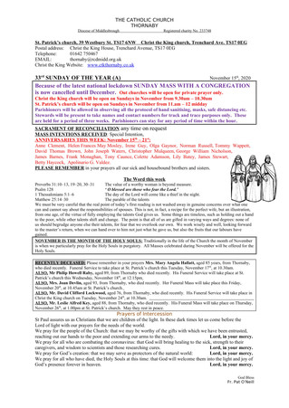 Parish Bulletin: November 14