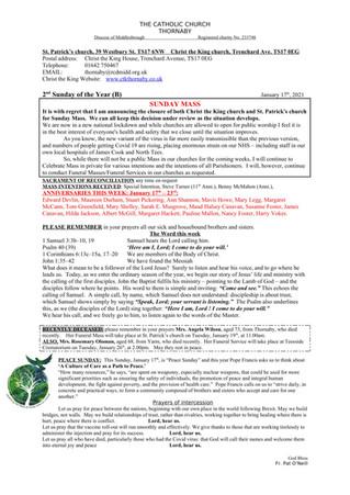 Parish Bulletin: January 16