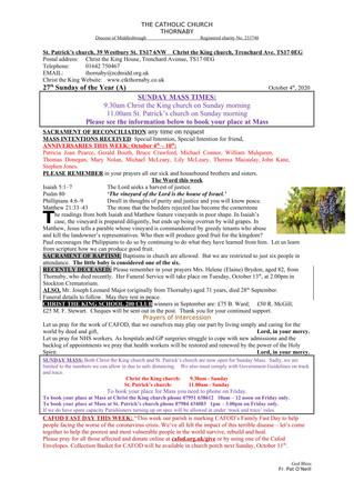 Parish Bulletin: October 3