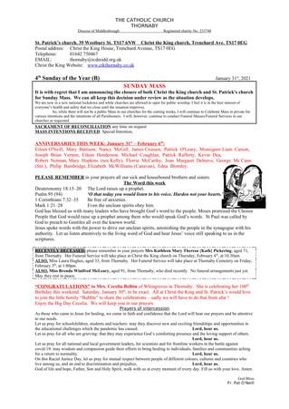 Parish Bulletin: January 30