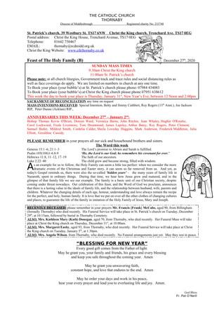 Parish Bulletin: December 27