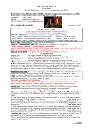 Parish Bulletin: November 28