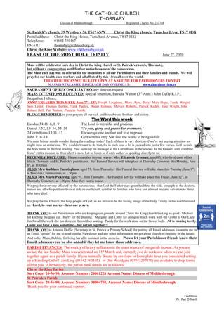 Parish Bulletin: June 6