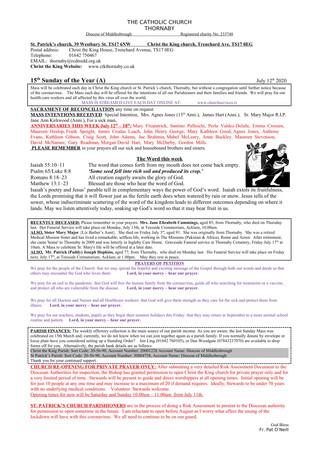 Parish Bulletin: July 11