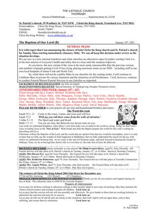 Parish Bulletin: January 9