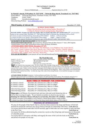 Parish Bulletin: December 11