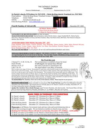 Parish Bulletin: December 19