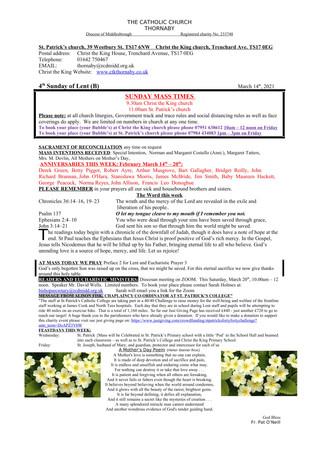 Parish Bulletin: March 13