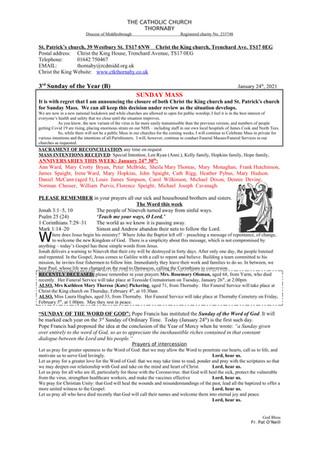 Parish Bulletin: January 23