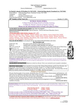 Parish Bulletin: October 10