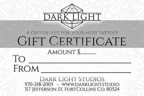 GIFT CERTIFICATE - ZACH DARKLIGHT