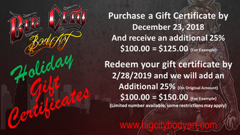 Holiday Gift Certificates