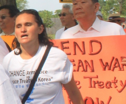 Sarah Sloan at a march for Peace in Korea