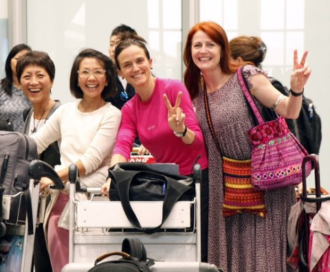 Members of the WomenCrossDMZ delegation arrive in Beijing. (L to R) Deann Borshay Liem, Christine Ahn, Gay Dillingham and Code Pink's Jodie Evans at airport. (photo WomenCrossDMZ)