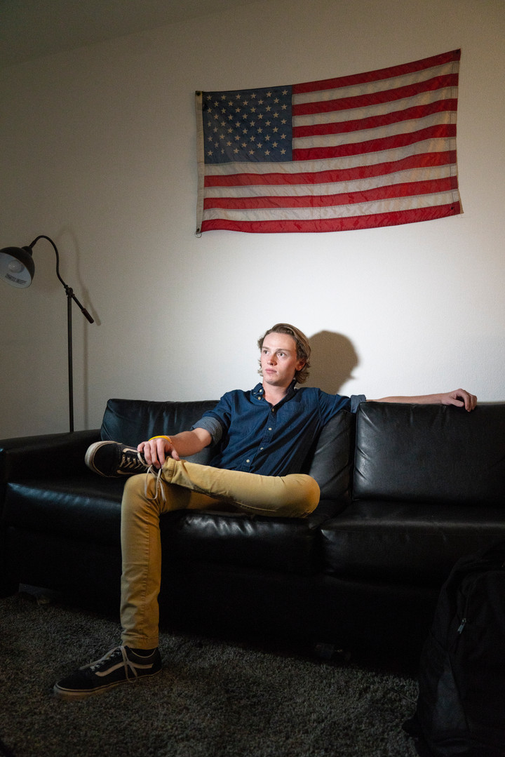Jack Murphy, founder of Teteral Media sits in his apartment in Tempe, AZ.