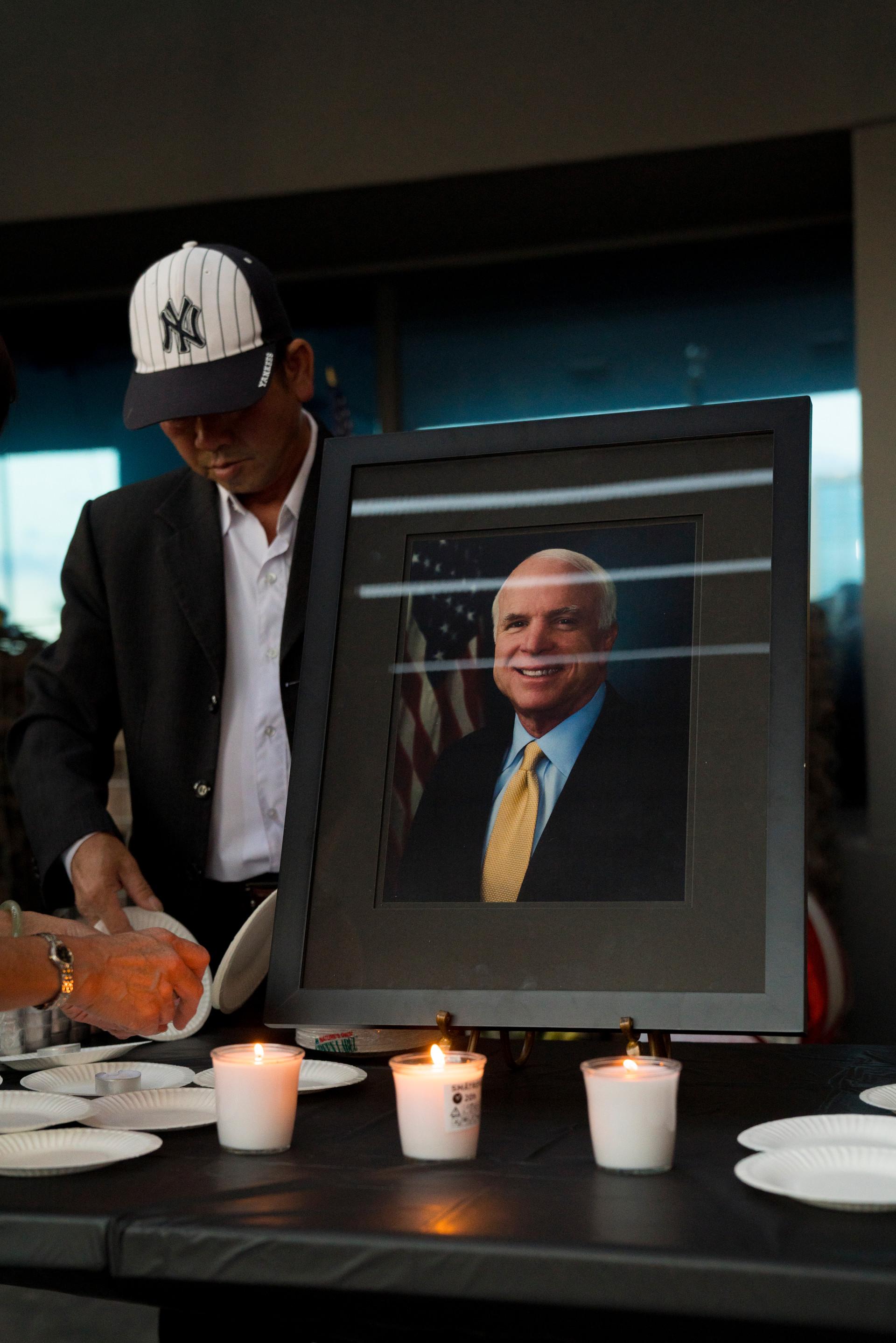 Portrait of Senator John McCain Vietnamese Association of Arizona memorial for McCain at his office in Phoenix, Arizona on Sunday, August 26, 2018.