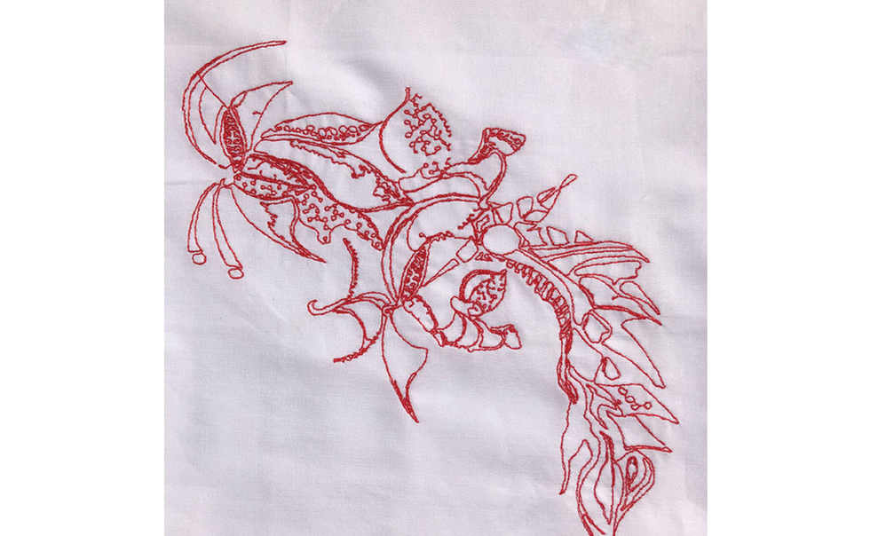 I've not used Redwork before... I'm so pleased with the results. The linear lines are one of my favourite techniques. I'll be using Redwork over and over again.